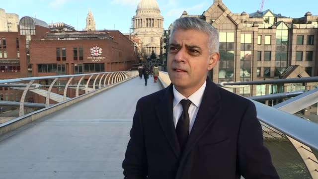 sadiq khan interview england london millennium bridge ext sadiq khan interview sot re grenfell service - sadiq khan stock videos & royalty-free footage