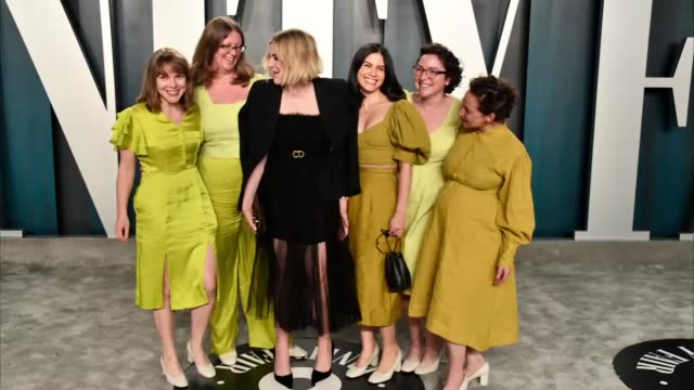 greta gerwig attends the 2020 vanity fair oscar party hosted by radhika jones at wallis annenberg center for the performing arts on february 09, 2020... - vanity fair oscar party stock videos & royalty-free footage