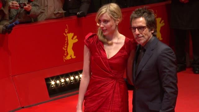 greta gerwig, ben stiller at the greenberg premiere: 60th berlin film festival at berlin . - ゴーティー点の映像素材/bロール