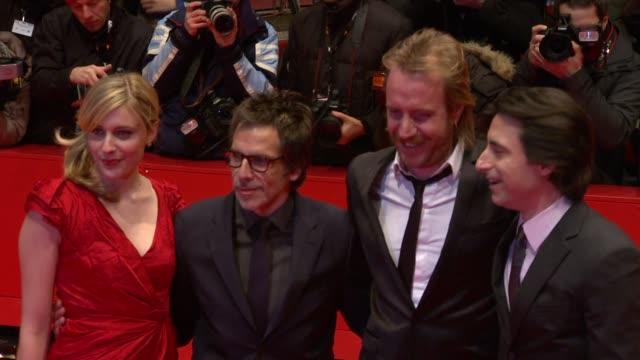 greta gerwig, ben stiller, rhys ifans and noah baumbach at the greenberg premiere: 60th berlin film festival at berlin . - ゴーティー点の映像素材/bロール