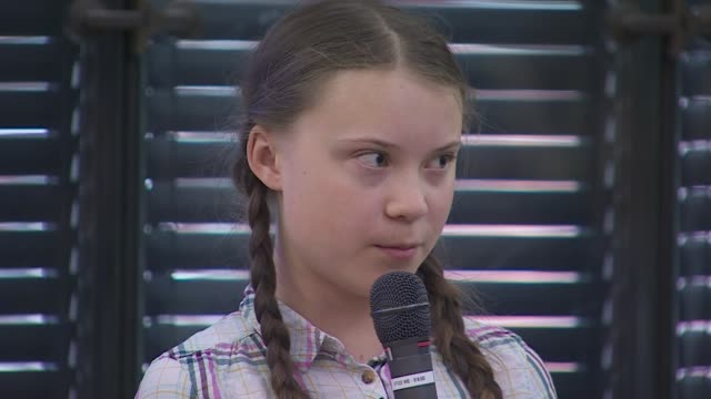 "greta thunberg, climate change activist, addressing politicians in westminster ""we children are doing this to wake the adults up, to put your... - speech stock videos & royalty-free footage"