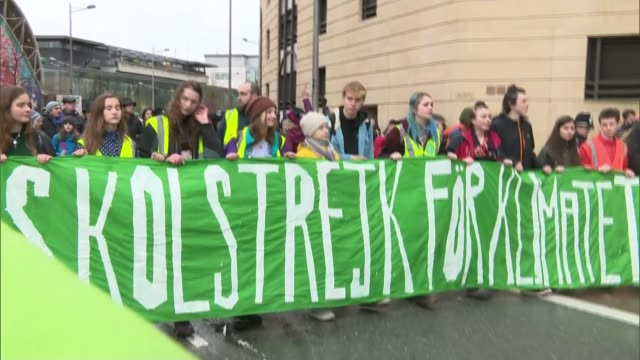 greta thunberg joins children taking part in school strike in bristol in protest at lack of action to tackle climate change; england: bristol: ext... - social issues stock videos & royalty-free footage