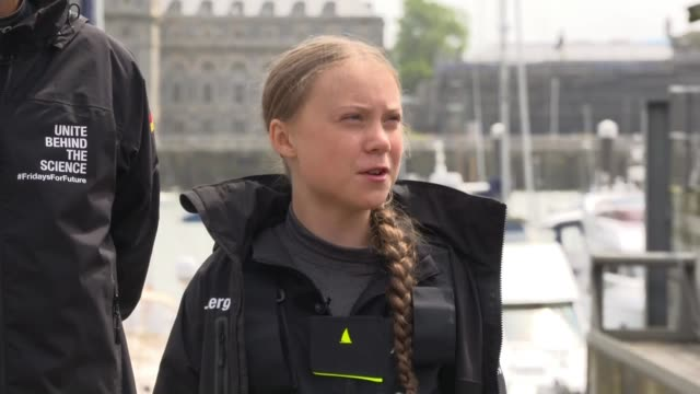 greta thunberg press conference before setting sail from plymouth england devon plymouth ext boris herrmann reading statement from mobile phone to... - climate activist stock videos & royalty-free footage