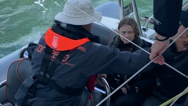 greta thunberg sets sail from uk to attend new york and chile climate change summits uk plymouth greta thunberg boarding boats training footage of... - cruising stock videos & royalty-free footage