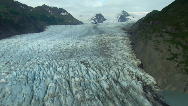 grewingk glacier alaska from aerial perspective - glacier stock videos & royalty-free footage