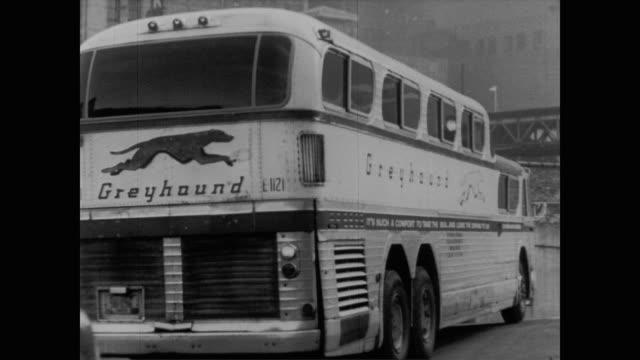 1960 Greyhound bus driving