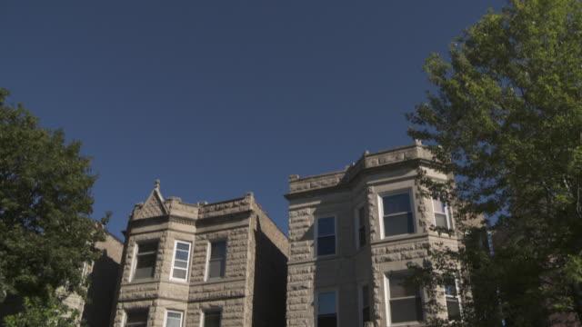 WS TD Greystone apartments on residential street / Chicago, Illinois, USA