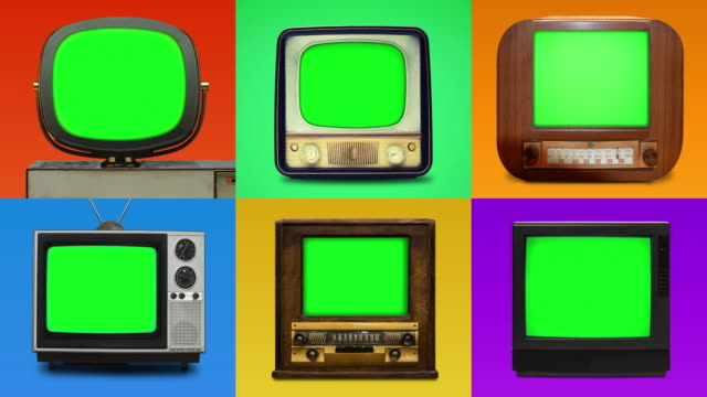 grid lineup of 6 vintage tv's with chroma key screens - television industry stock videos & royalty-free footage