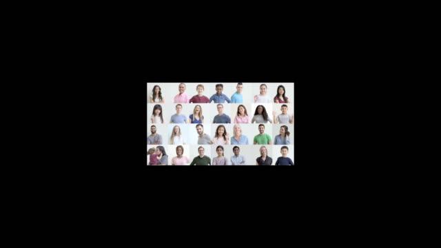 vidéos et rushes de grille de portraits avec des gens souriants et ethniquement variés de divers âges - quadrillage