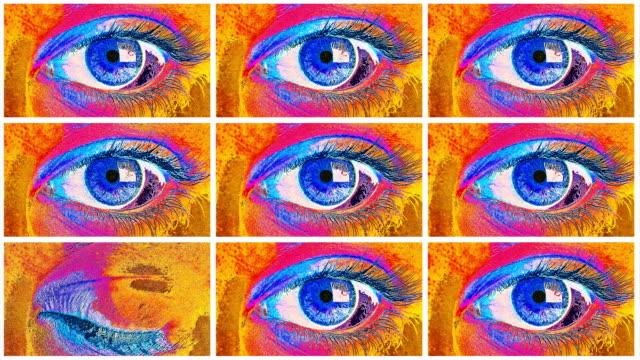 vídeos y material grabado en eventos de stock de grid of posterized eyes - pantalla dividida