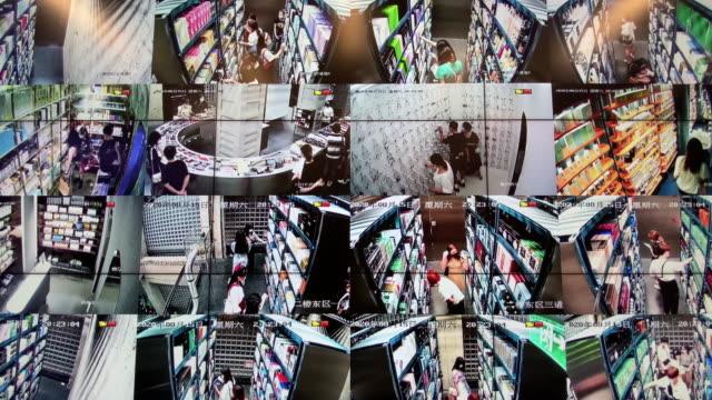 cctv grid showing people shopping, cctv camera monitoring - watching stock videos & royalty-free footage