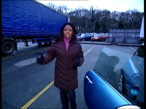 truckers; itn england: cheshire: crewe ext i/c cms front of truck - 英チェシャー州点の映像素材/bロール