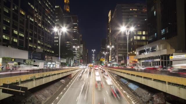 vídeos de stock, filmes e b-roll de tl, ms, ha gridlocked traffic on paulista ave in central sao paulo during rush hour / sao paulo, brazil - avenida