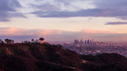 Griffith Observatory and Downtown Los Angeles Day to Night Sunset