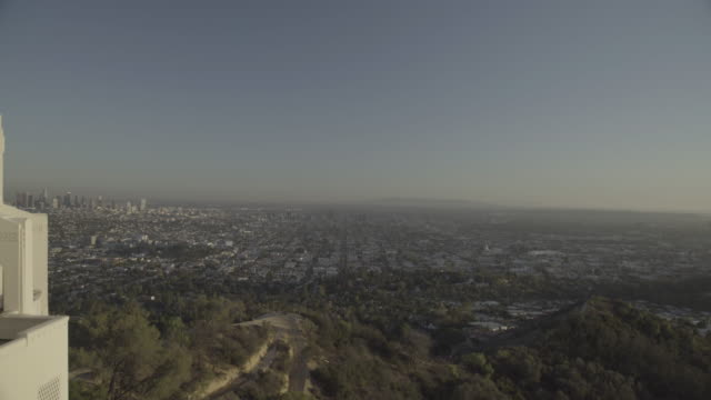 griffith observatory with  downtown - griffith observatory stock videos & royalty-free footage