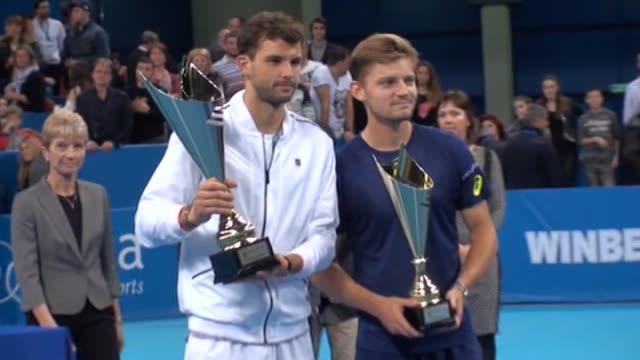 Grigor Dimitrov of Bulgaria wins the final match for the 2017 Garanti Koza Sofia Open tennis tournament against David Goffin of Belgium in Sofia...