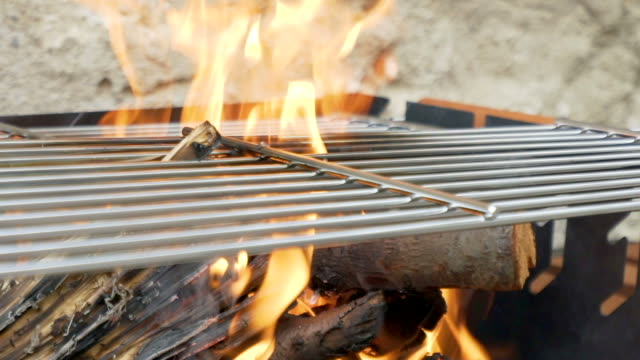 Grill flame in slow motion.