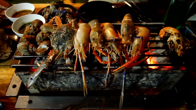grill fresh seafood with prawn shrimp shell and crab