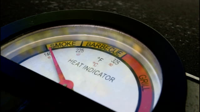 bbq grill gauge, from cold to hot. - thermometer stock videos & royalty-free footage
