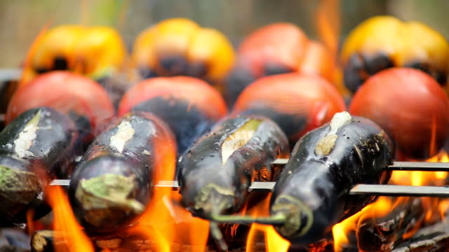 hd grill - aubergine stock videos & royalty-free footage