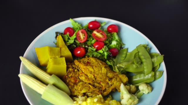 grilled chicken breast and vegetables - roast turkey stock videos & royalty-free footage
