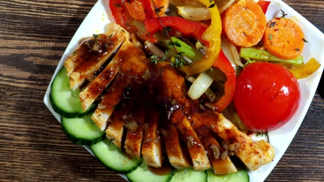 grilled chicken breast with vegetables - grilled chicken stock videos and b-roll footage