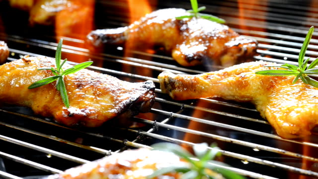 grilled chicken - chicken bird stock videos and b-roll footage
