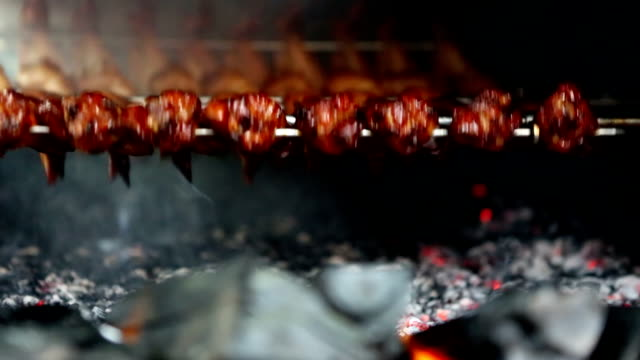 grilled chicken wings - asian market stock videos and b-roll footage