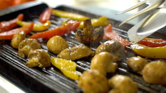 grilled delicious vegetables, slo mo - bbq brush stock videos and b-roll footage
