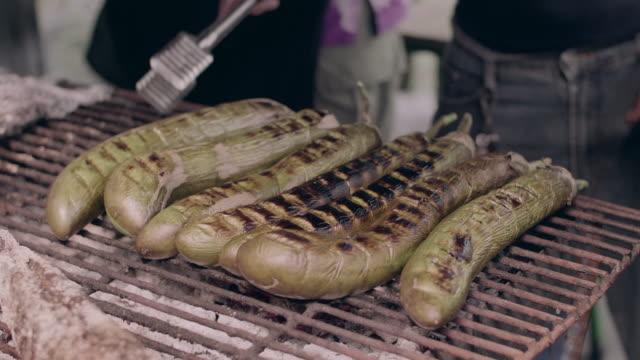 grilled eggplant - aubergine stock videos & royalty-free footage