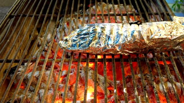 grilled fish in aluminum foil