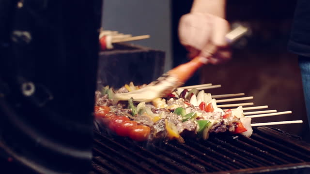 grilled food - kebab stock videos and b-roll footage