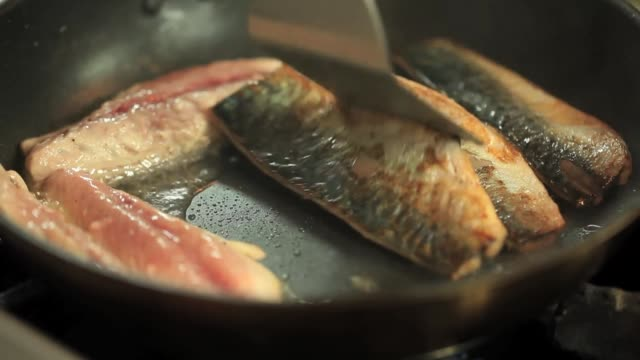 vidéos et rushes de grilled fresh mackerel in frying pan - assiette
