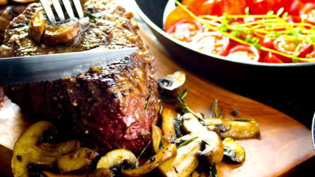 grilled juicy steak - steak stock videos & royalty-free footage
