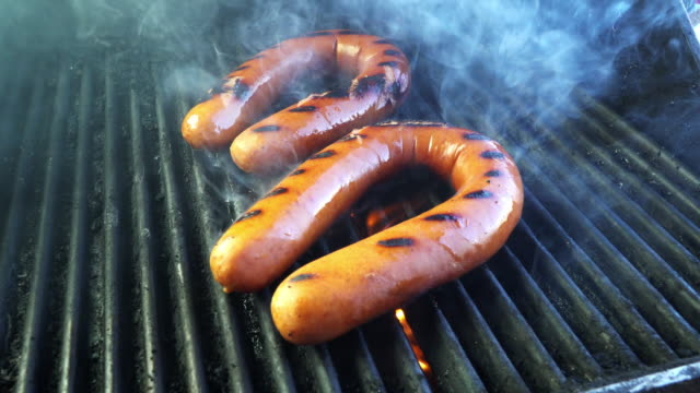 grilled kielbasa sausage - eastern european culture stock videos & royalty-free footage