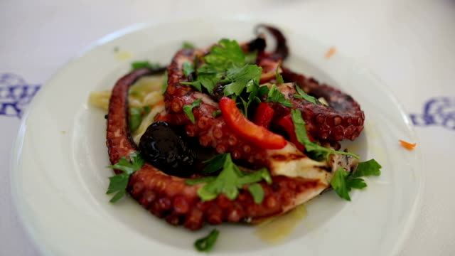 Grilled octopus on a plate