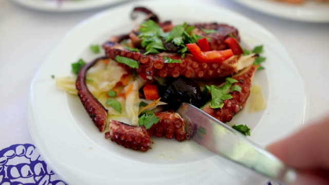 grilled octopus on a plate - cucina mediterranea video stock e b–roll
