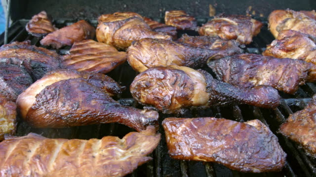 grilled pork and chicken legs - grilled chicken stock videos and b-roll footage