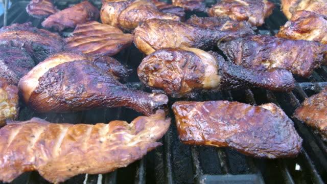 Grilled Pork and Chicken Legs