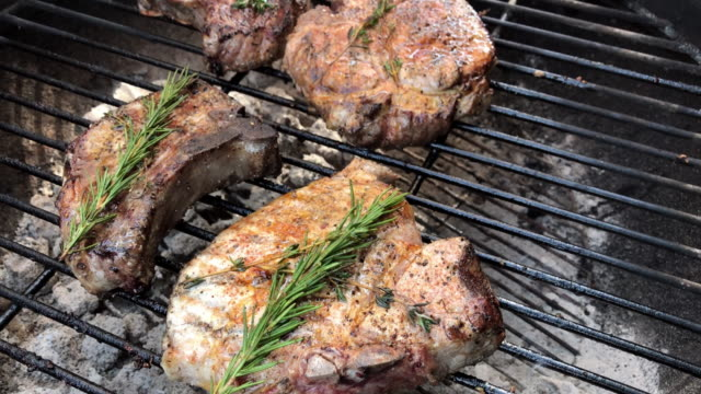 Grilled Pork Chops with Spices and Herbs in Western Colorado