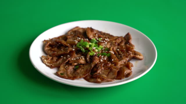 grilled pork on green screen - korean style