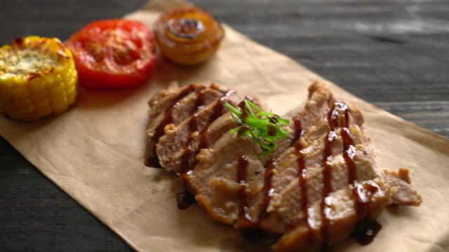 grilled pork steak with BBQ sauce