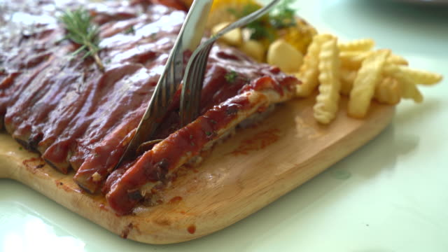 Grilled rib pork with barbecue sauce