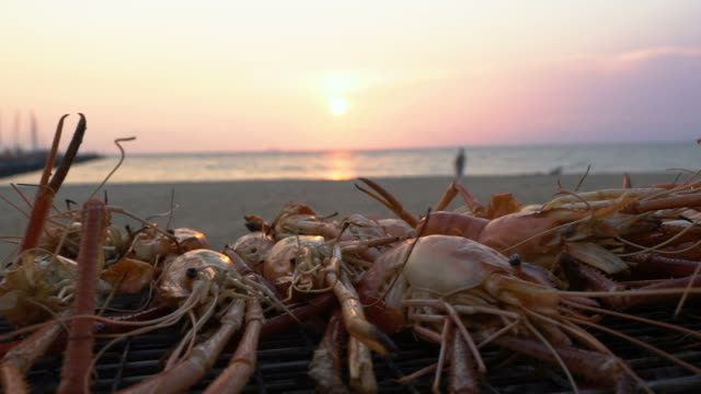 grilled river prawn on the beach - seafood stock videos & royalty-free footage