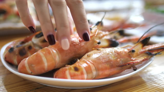 grilled river prawn ready to eat on the table - prawn stock videos & royalty-free footage