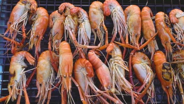 vídeos de stock e filmes b-roll de grilled river prawn - lagosta