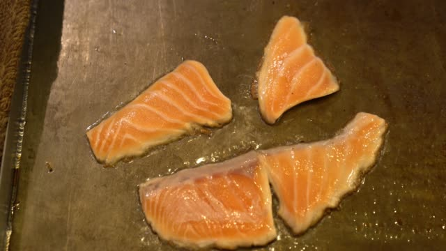 grilled salmon cooking - grilled salmon stock videos & royalty-free footage