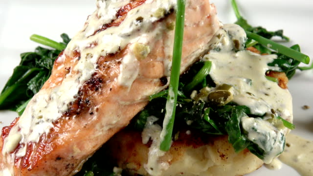 grilled salmon filet - grilled salmon stock videos & royalty-free footage