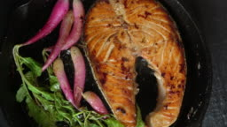 Grilled Salmon Fillet with Roasted Organic Radishes