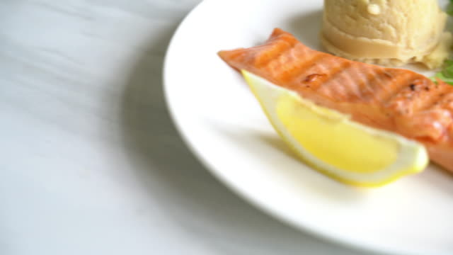 grilled salmon steak - saute stock videos and b-roll footage